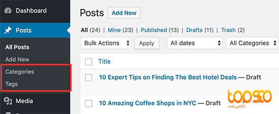 tag and categories in wordpress