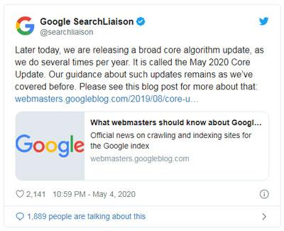 توئیت 4 می گوگل